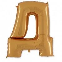 Фольгированная Буква Д золото (102 см)